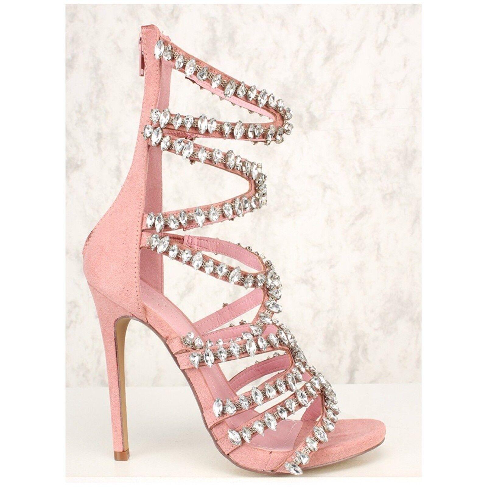 Liliana JESSE-230 Dusty Pink Faux Suede Bling Rhinestone Cage Stiletto Heel