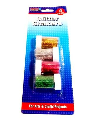 GLITTER SHAKER POTS CHILDRENS ART and CRAFTS CARDS SPARKLE SCHOOL//HOMEx 4PK 6089