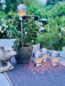 LED Solarleuchten Solar Gartenleuchten Lampe Leuchten 4x Solithia Kristall Mini