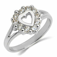 14k Solid White Gold Cz Cubic Zirconia Heart Ring Band