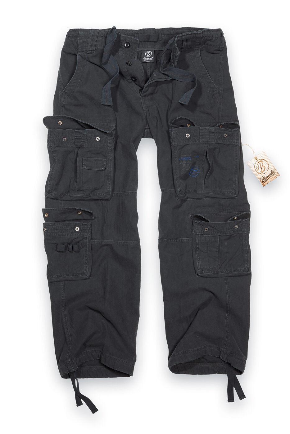 Brandit Pure  Vintage Pantalones De Combate Para Hombre Pantalones tipo Cochego de Tamaño Grande Negro 4-7XL  están haciendo actividades de descuento