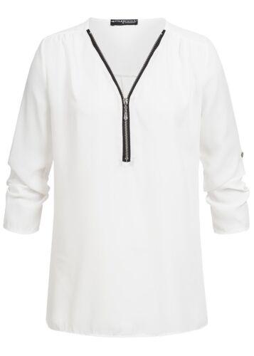 50/% OFF B18088124 Damen Violet Bluse Turn-Up Bluse mit Zipper vorne weiß