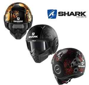 Casque-SHARK-Raw-Drak-Sanctus-jet-moto-scooter-aviateur-deco-tete-mort-roses
