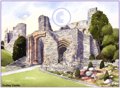 "DUDLEY CASTLE WEST MIDLANDS WATERCOLOUR ARTISTS PRINT GREETINGS CARD 8/""x 6/"""