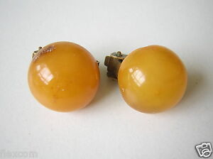 Antike Egg Yolk Natur Bernstein Ohrclips Genuine Amber 4,5 G/ Ø 1,4 Cm Produkte HeißEr Verkauf Ohrringe & -stecker