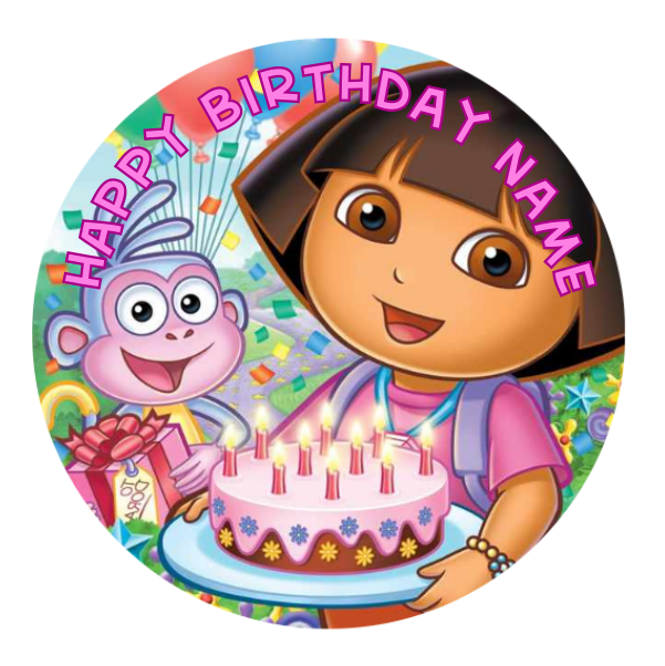 Excellent Dora The Explorer Personalised Edible Birthday Cake Decoration Funny Birthday Cards Online Alyptdamsfinfo