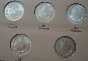 Mexico $1 Peso Silver Lot 5 coins 1938-1945 Please de coins