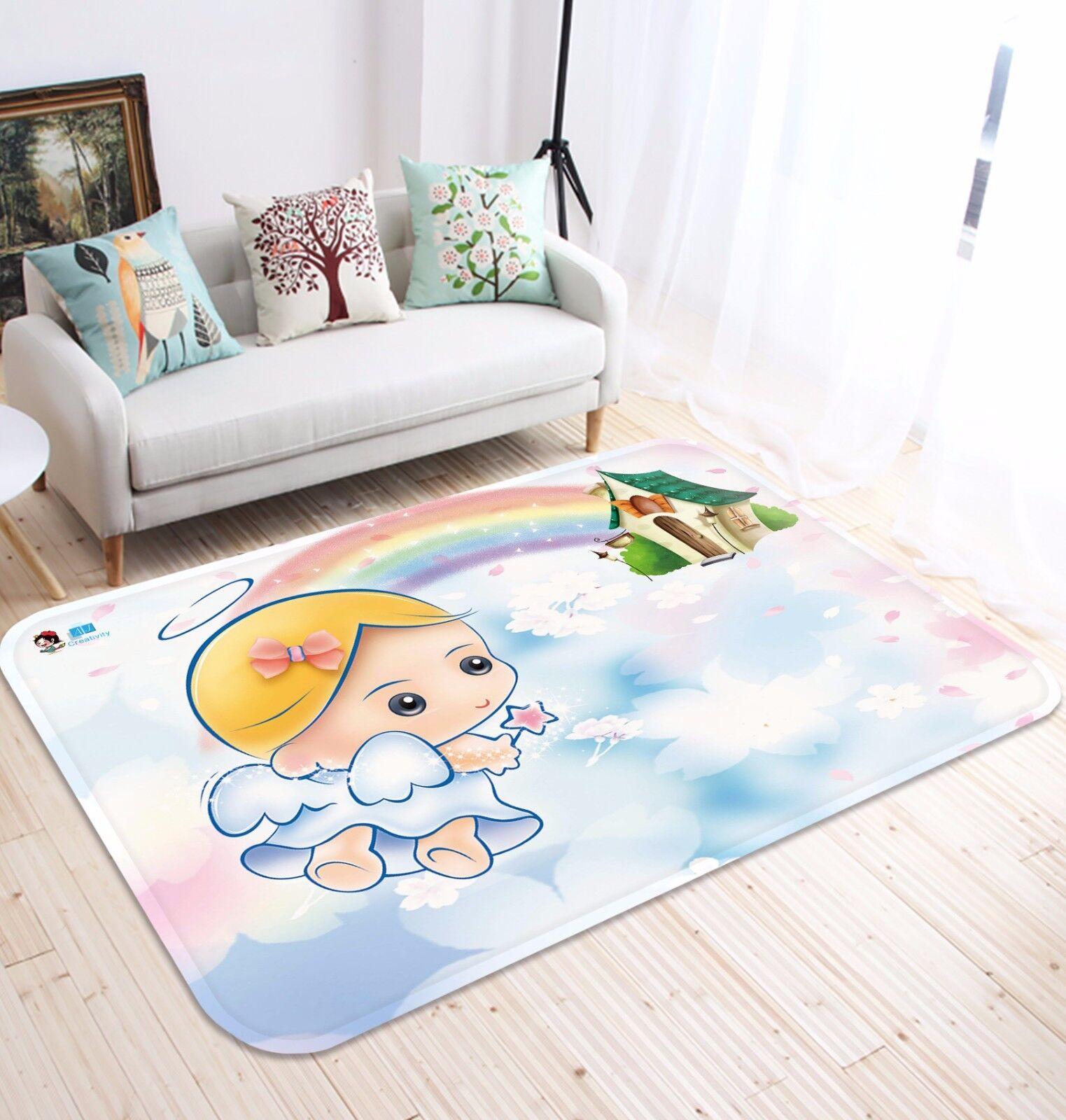 3D Angel Rainbow House 8 Non Slip Rug Mat Room Mat Round Elegant Photo Carpet CA