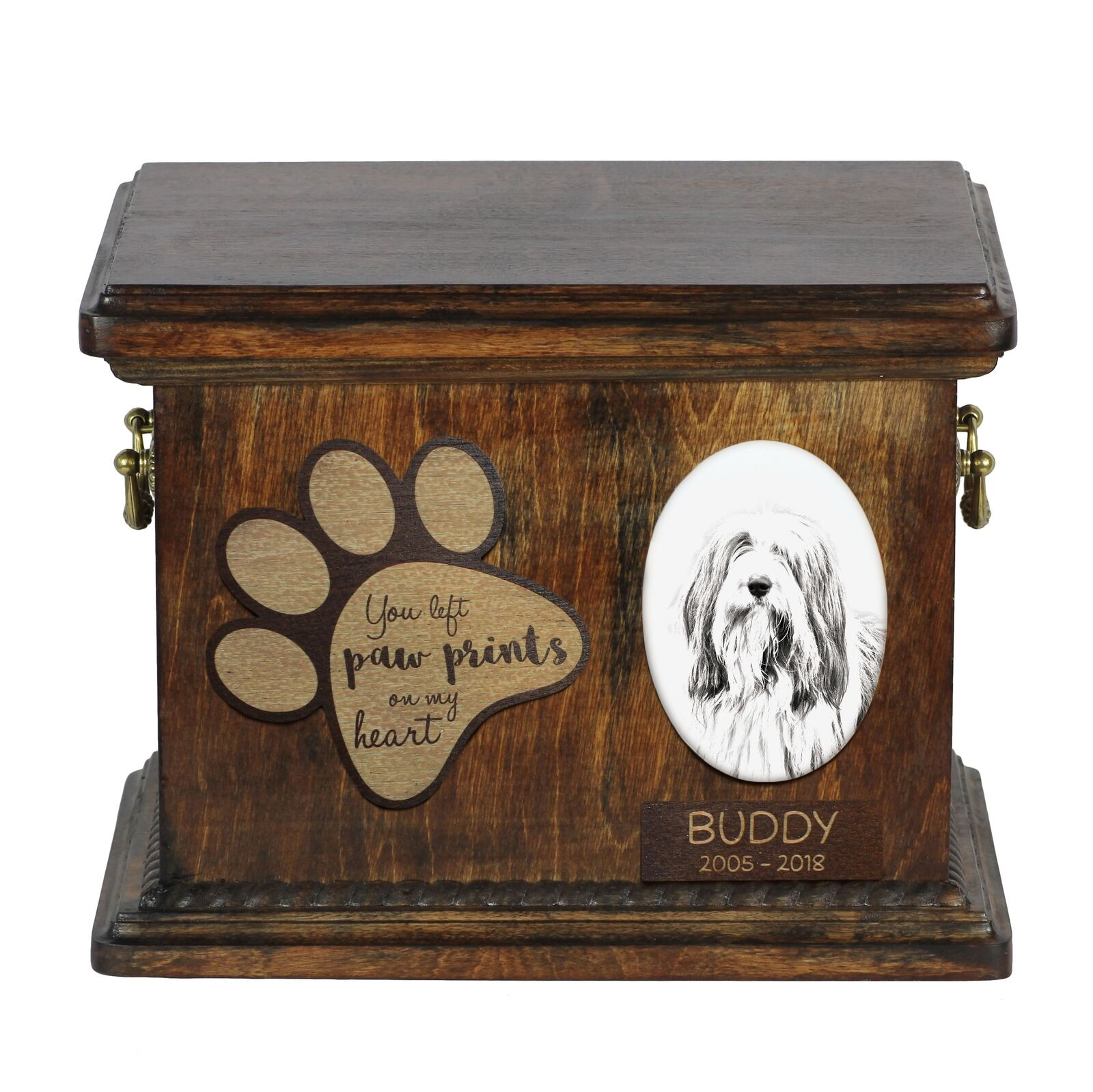 Bearded Collie  Urn for dog's ashes with ceramic plate and description, Art Dog