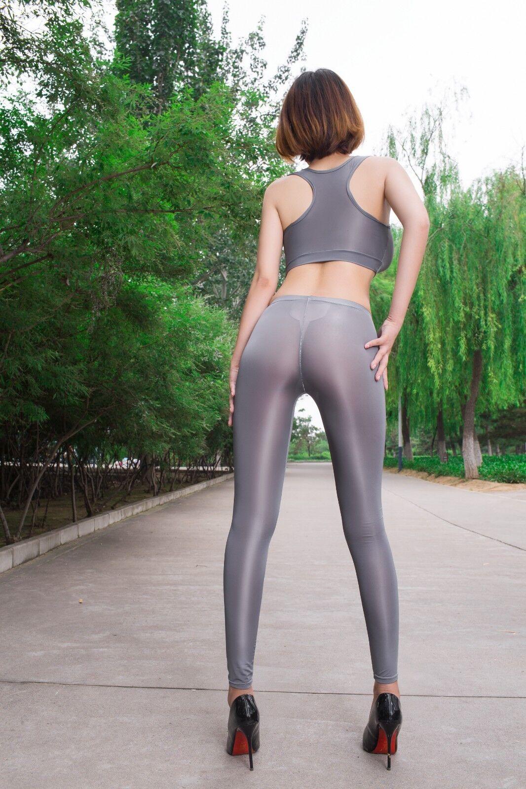Sexy Damen Durchsichtig transparent Hose Leggings glänzend