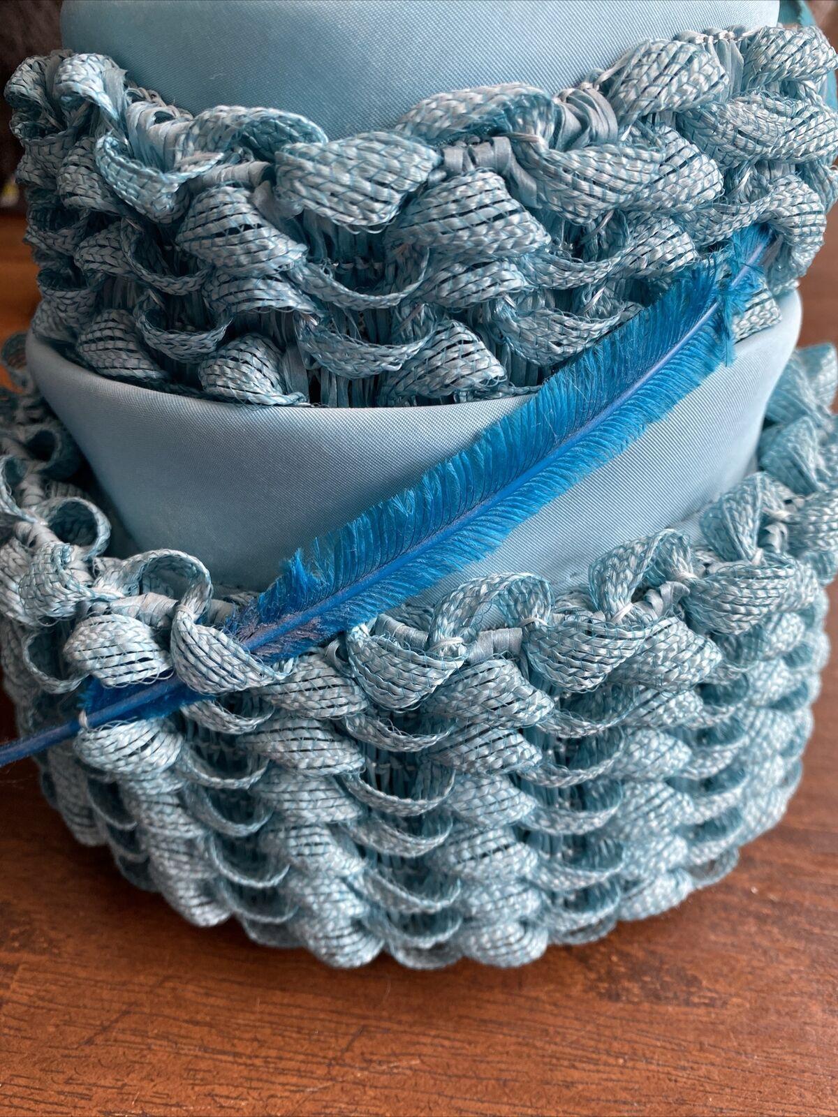 VINTAGE HAT ORIGINAL CHAPEAUX LOUISE Woven Light Blue Hat With Feather A1
