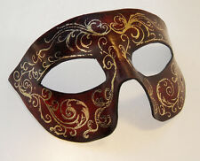 Red with Gold Feathers and Swirls Leather Handmade Mask Venetian Masquerade