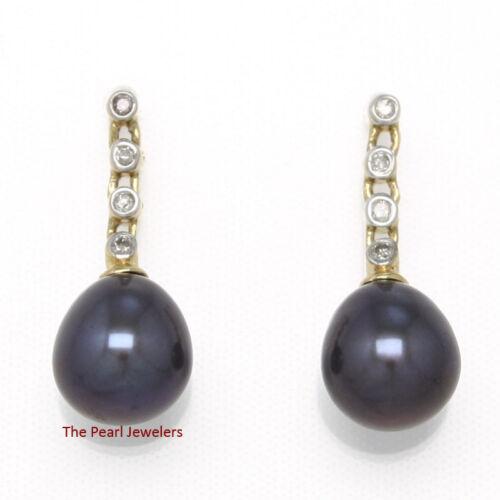 14k Yellow Gold /& Sparkling Diamonds; Black Cultured Pearl Stud Earrings TPJ