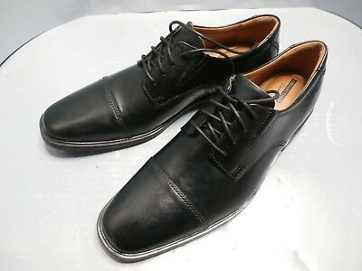 New US 912 MENS CLARKS BLACK LEATHER LACE UP SHOE STYLE TILDEN CAP G FIT | eBay