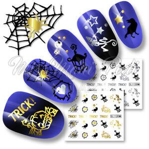 Halloween-Nails-Art-Water-Decals-Nail-Decals-Stickers-Spiders-Pumpkins-SL112B