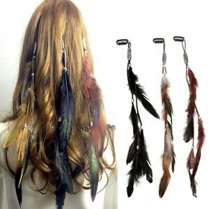 Indian-Festival-Feather-Hippie-Headpiece-Tassel-Hair-Comb-Clips-Boho-Head-Band
