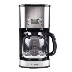 Edelstahl-Kaffeemaschine-12-Tassen-1000-Watt-mit-Timer-H-koenig-MG30