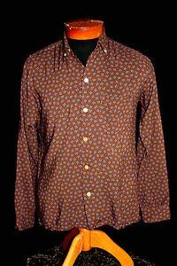 Vintage-1950-039-s-Rayon-Gabardine-Brown-Classic-Print-Button-Down-Collar-Shirt-Sz-S