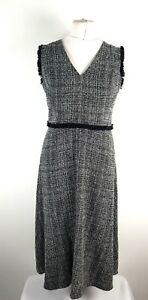 M-amp-S-Grey-Black-Boucle-Tweed-Stretch-Fit-and-Flare-Long-Dress-UK-12-New