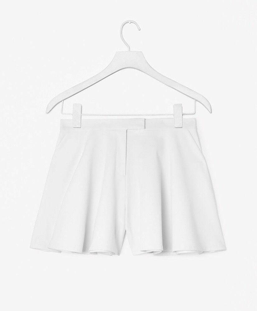 Cos * Nouveau * Blanc Large-leg Cercle Coupe évasée Shorts Avec Poches Taille Uk 12 38 Rare!