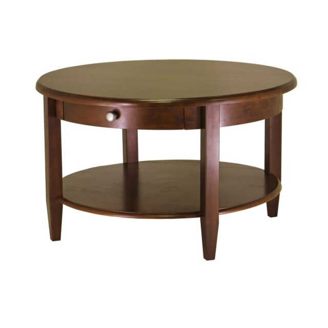Round Coffee Table Wood Living Room Tables With Storage Small Espresso Clic