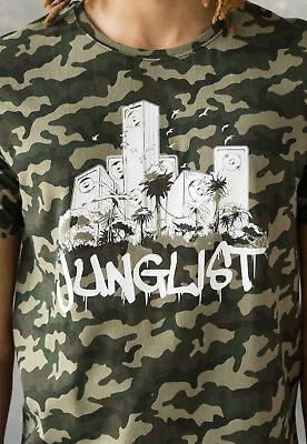 Junglist Crest Camo T Shirt DJ Drum /& Bass Camouflage Womens Music Festival Tee