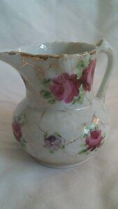 Creamer-4-inches-Vintage-Porcelain-Pitcher-Floral-Roses