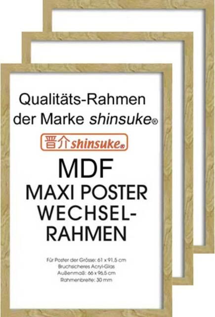 3 St Wechselrahmen f Maxi-Poster 3cm MDF Holzfaserwerkstoff 61x91,5cm silber