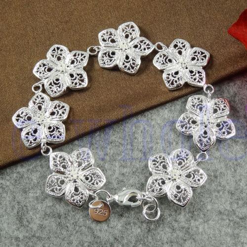 Seven Spring Love Flowers Silver Plated Bracelet Chain JW1533 TW