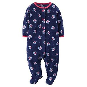 ba34dd66db9d Carter s NWT NB 3M 6M Infant Girl Floral Fleece PJ Footed Pajama ...