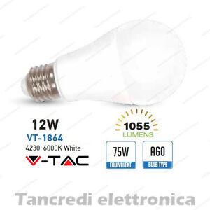 Lampadina-led-V-TAC-12W-75W-E27-bianco-freddo-6000K-VT-1864-A60-SMD-globo-bulb