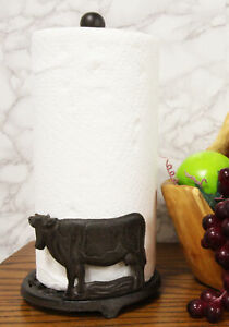 Cast-Iron-Rustic-Holstein-Cow-With-Scroll-Art-Kitchen-Paper-Towel-Holder-Stand