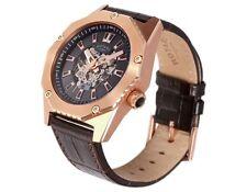 Rotary Men's Fusion Brown Strap Skeleton Watch