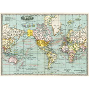 Political world map vintage style poster decorative paper ephemera image is loading political world map vintage style poster decorative paper gumiabroncs Gallery