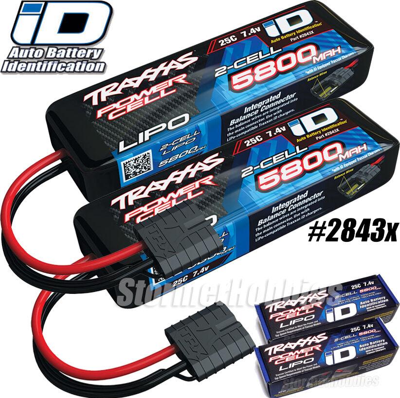 "Traxxas 2843X 2S /""Power Cell/"" 25C LiPo Battery w//iD Traxxas Connector 7.4V//5800"