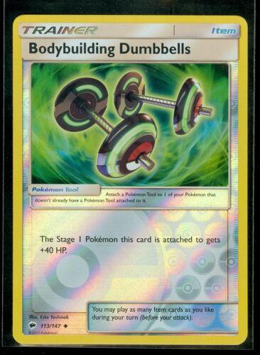 Pokemon BODYBUILDING DUMBBELLS 113//147 MINT Burning Shadows Rev Holo