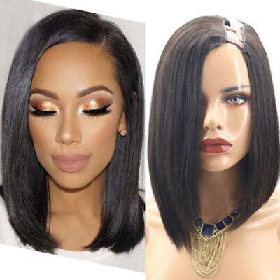 Remy Indian Short Bob Cut U Part Human Hair Wig Soft Left ...