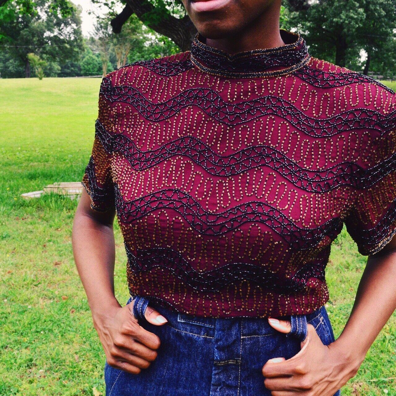 damen Sequin Blouse Vintage Medium Embellished 100% Silk