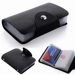 New 24 Slot Men/'s Faux Leather Credit RFID Credit Card Holder Carrier Wallet