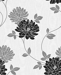 Fine-Decor-FD13691-Madison-Textured-Floral-Trail-Wallpaper-Black-White-Silver
