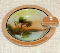 Vintage Noritake Hand Painted TINY ASHTRAY Lake & Swan Picture Lustre Glaze