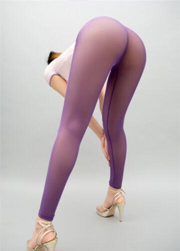 Damen Schier Mesh Leggings Oberschenkel durchsichtig Skinny Stift erotisch