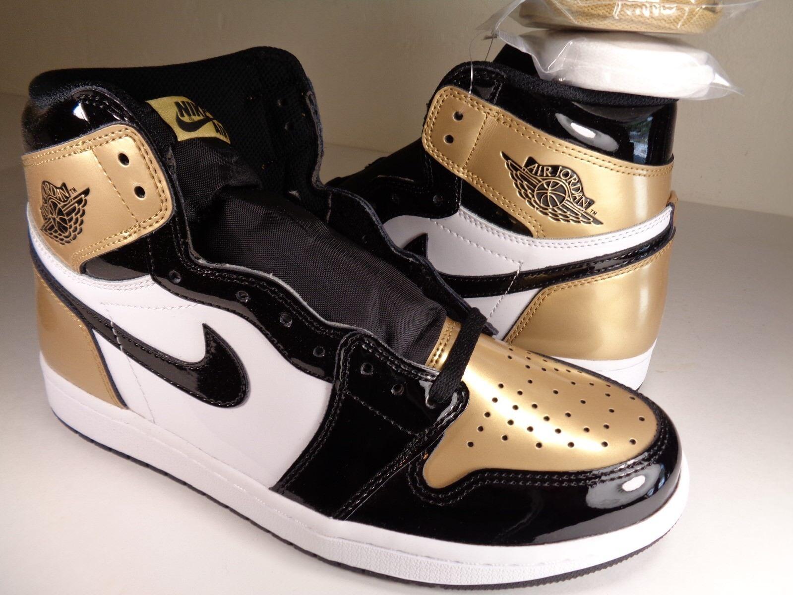 Nike Air Jordan Retro 1 High OG NRG Gold Toe Black White SZ 11 (861428-007)