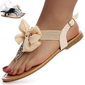 scarpe-donna-brillantini-Infradito-Fiocco-Sandali-cinghie-Casual