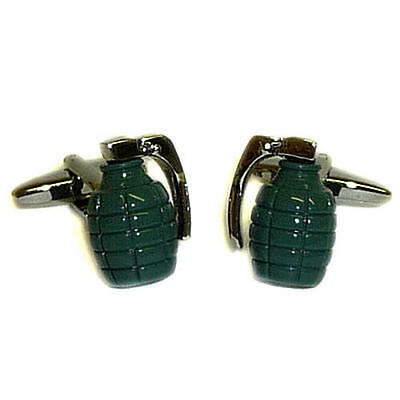 Green Army Grenade Cufflinks With Gift Pouch Explosion Weapon Fight Armies New