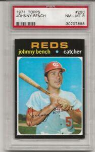 SET-BREAK-1971-TOPPS-250-JOHNNY-BENCH-PSA-8-NM-MT-HOF-REDS-CENTERED-L-K