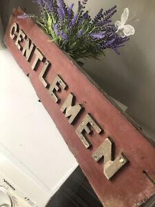 Antique Original Early Railway Gentlemen Toilet Sign