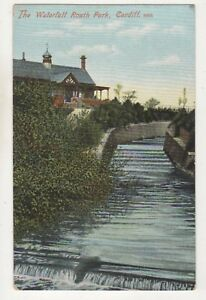 The-Waterfall-Roath-Park-Cardiff-Vintage-Postcard-Glamorgan-South-Wales-750b