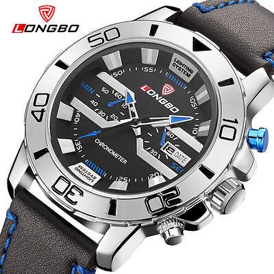 LONGBO Men Sports Leather Quartz Watch Calendar Waterproof Wrist Watches 80189