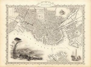Antique Boston Map.Antique Boston Usa Decorative Map Tallis 31 5 X 23 6 Inch Canvas Ebay